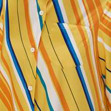 Button Through Colorful Striped Shirt Dress