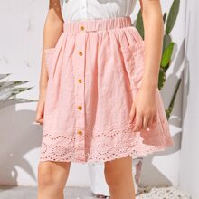 Girls Buttoned Front Pocket Patched Schiffy Skirt