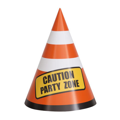 Construction Party Cones, 8ct For Birthday Party