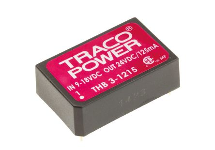TRACOPOWER THB 3 3W Isolated DC-DC Converter Through Hole, Voltage in 9 → 18 V dc, Voltage out 24V dc Medical