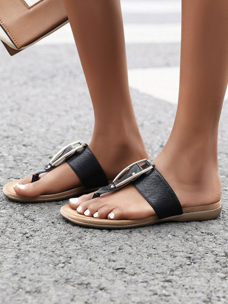 Milanoo Women\'s Flat Sandals Metal Details Flat PU Leather Casual Thong Slippers