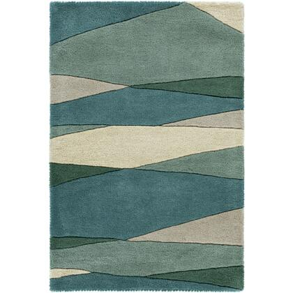 Forum FM-7204 4' x 6' Rectangle Modern Rug in Sea Foam  Dark Green  Teal  Tan