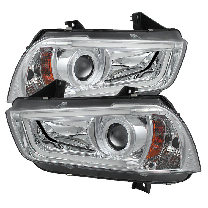 Spyder Auto PRO-YD-DCH11-LTDRL-C Chrome Projector Headlights DRL Light Tube with High H1 and Low H7 Lights Included Dodge Charger with Halogen Lights