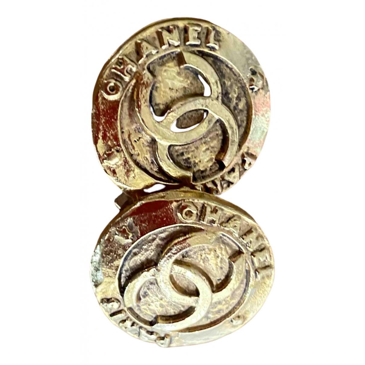 Chanel - Boucles doreilles CC pour femme en plaque or - dore