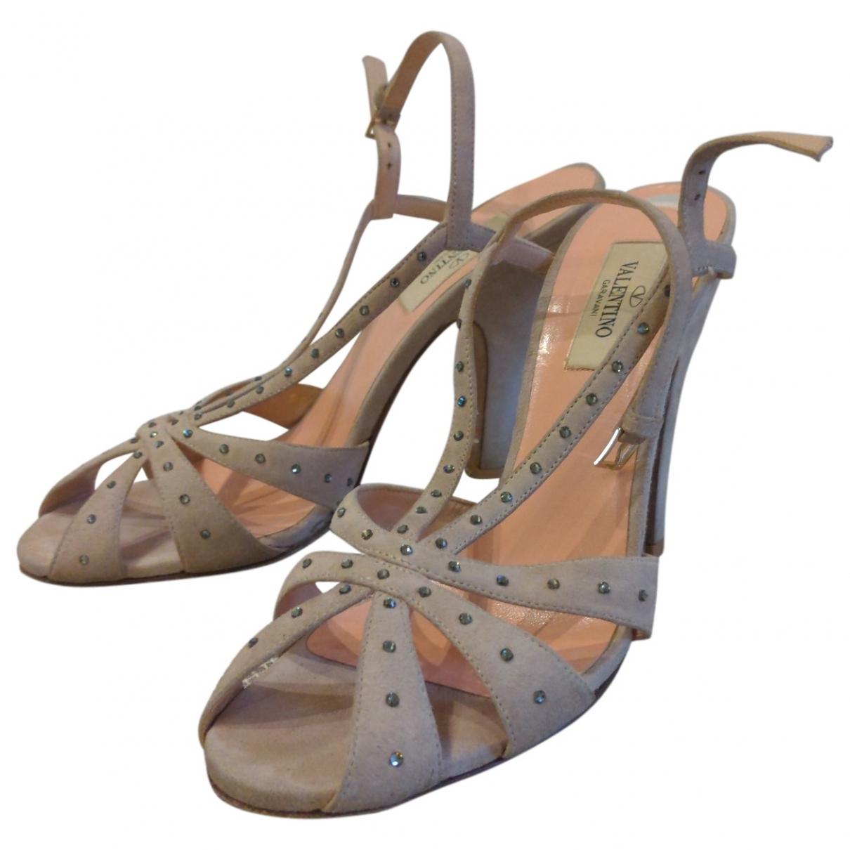 Valentino Garavani Rockstud Pink Suede Sandals for Women 37.5 EU