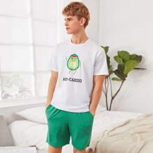 Men Avocado and Letter Graphic Top & Shorts PJ Set