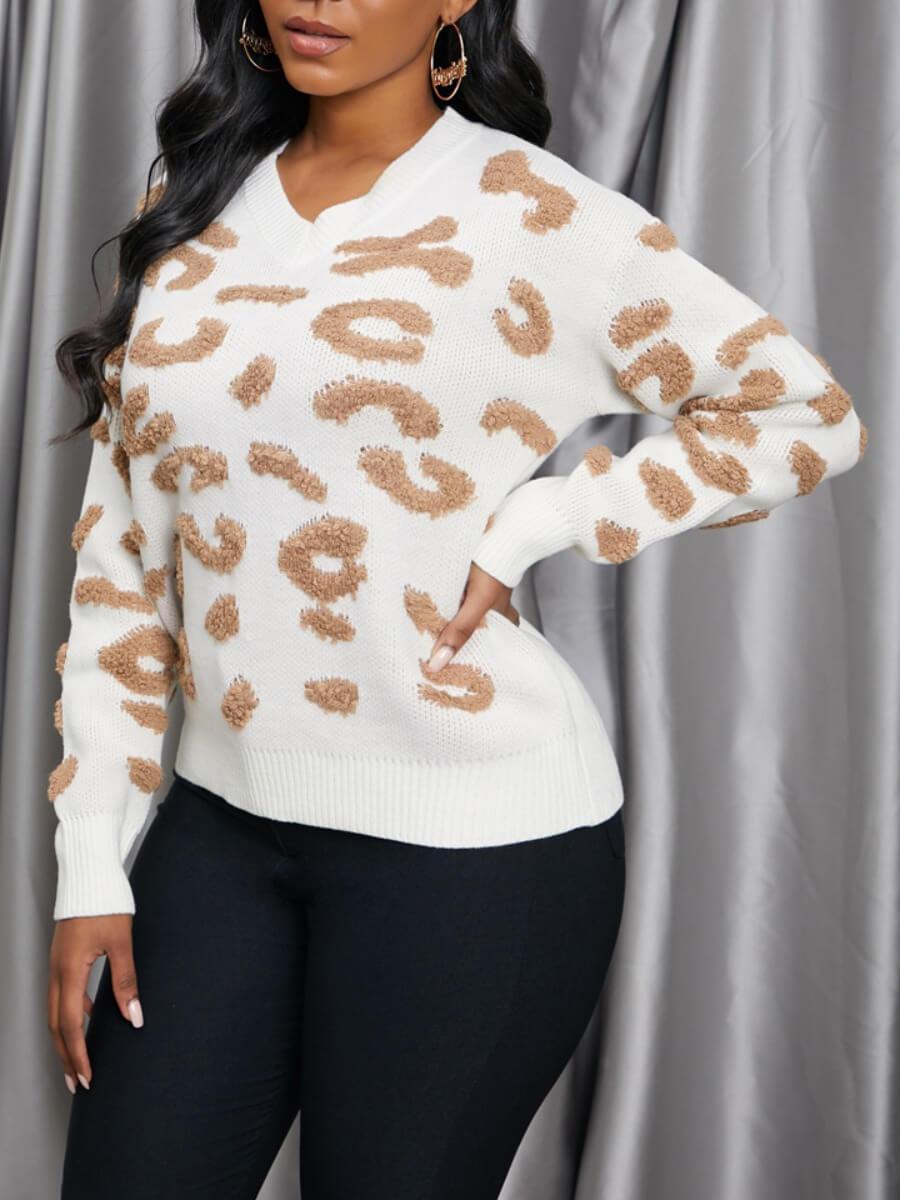 LW Lovely Trendy Leopard Print Brown Sweater