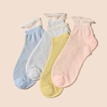 4pairs Mesh Trim Socks