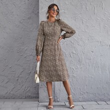 Puff Sleeve Tie Back All Over Print Dress