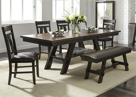 Lawson Collection 116-CD-6RTS 6-Piece Dining Room Set with Rectangular Dining Table  4 Side Chairs and Bench in Light & Dark Expresso