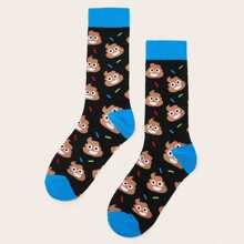 Maenner Socken mit Karikatur Muster 1 Paar