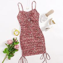 Cut Out Drawstring Knot Front Ditsy Floral Slip Dress