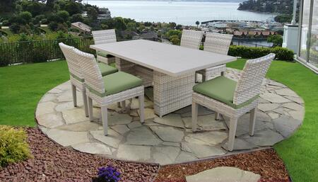 Fairmont Collection FAIRMONT-DTREC-KIT-6C-CILANTRO Patio Dining Set With 1 Table  6 Side Chairs - Beige and Cilantro