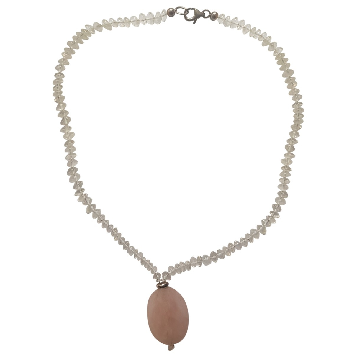 Non Signe / Unsigned Medailles Kette in  Rosa Perlen