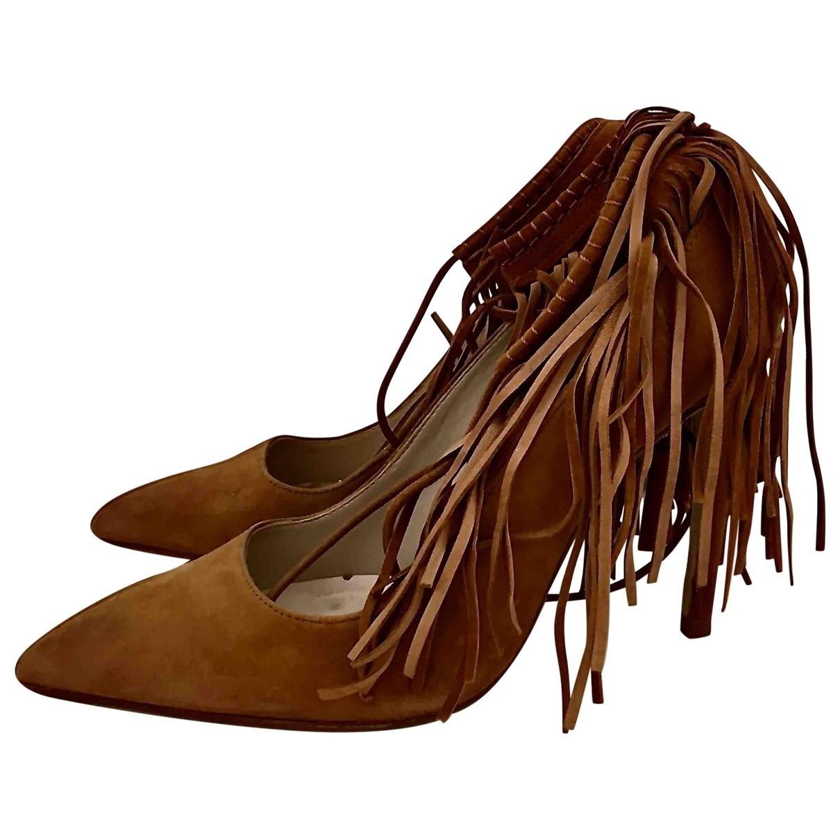 Zara - Escarpins   pour femme en suede - camel
