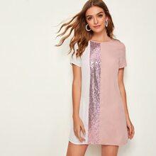 Tunika Kleid mit Pailletten und Farbblock