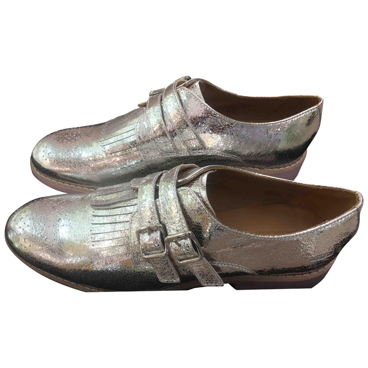 Melvin&hamilton N Silver Leather Flats for Women 41 EU