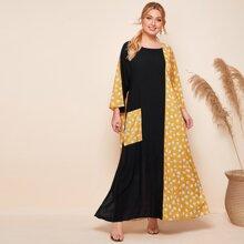Kleid mit Kontrast, Gaensebluemchen & Punkten Muster und Taschen Flicken