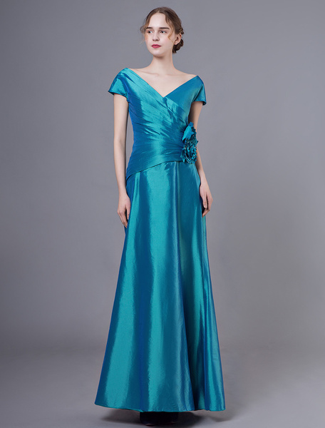 Milanoo Mother Of The Groom Dresses V Neck Short Sleeve Taffeta Flowers Floor Length Wedding Party Dress