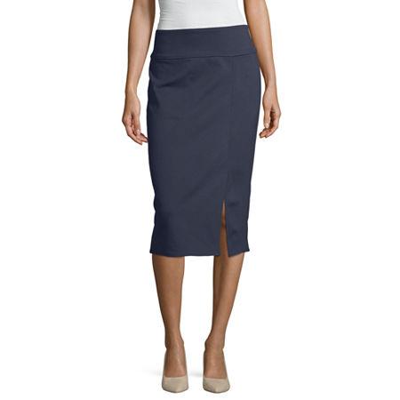 Worthington Ponte Knit Pencil Skirt, X-small , Blue