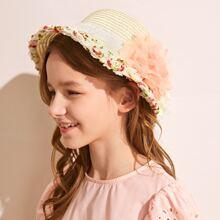 Kleinkind Maedchen Stroh Hut mit Blume Dekor