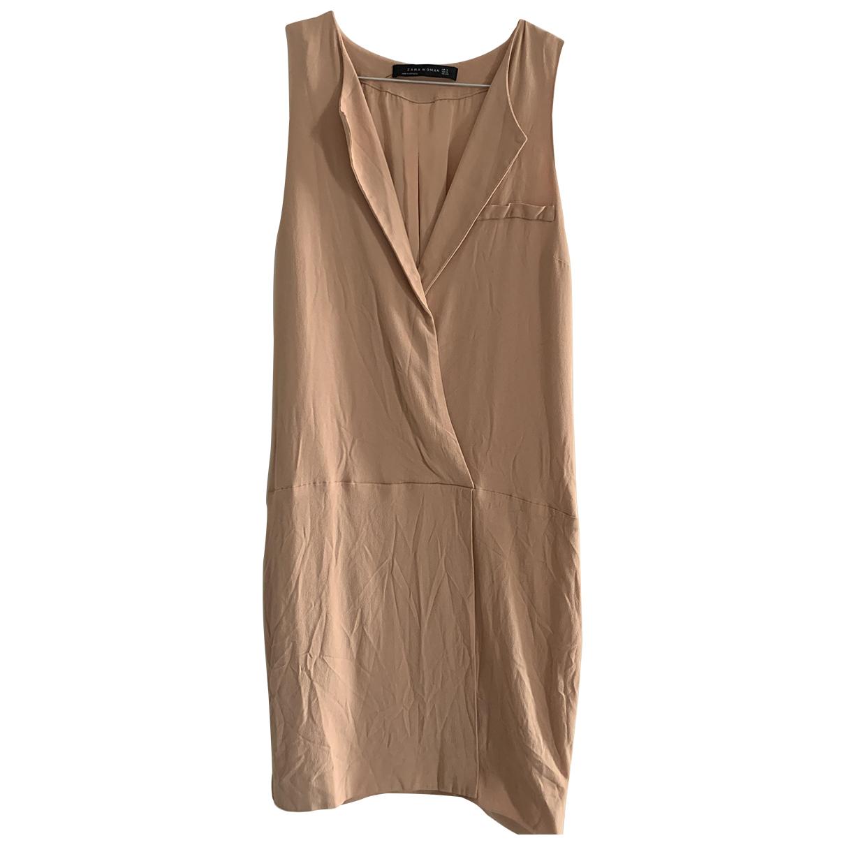 Zara \N Kleid in  Gold Baumwolle