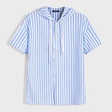 Men Striped Drawstring Hooded Shirt