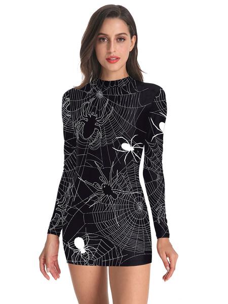 Milanoo Disfraz Halloween Disfraces de Halloween Disfraces de fiesta de bodycon de impresion en 3D de poliester negro para mujer Carnaval Halloween