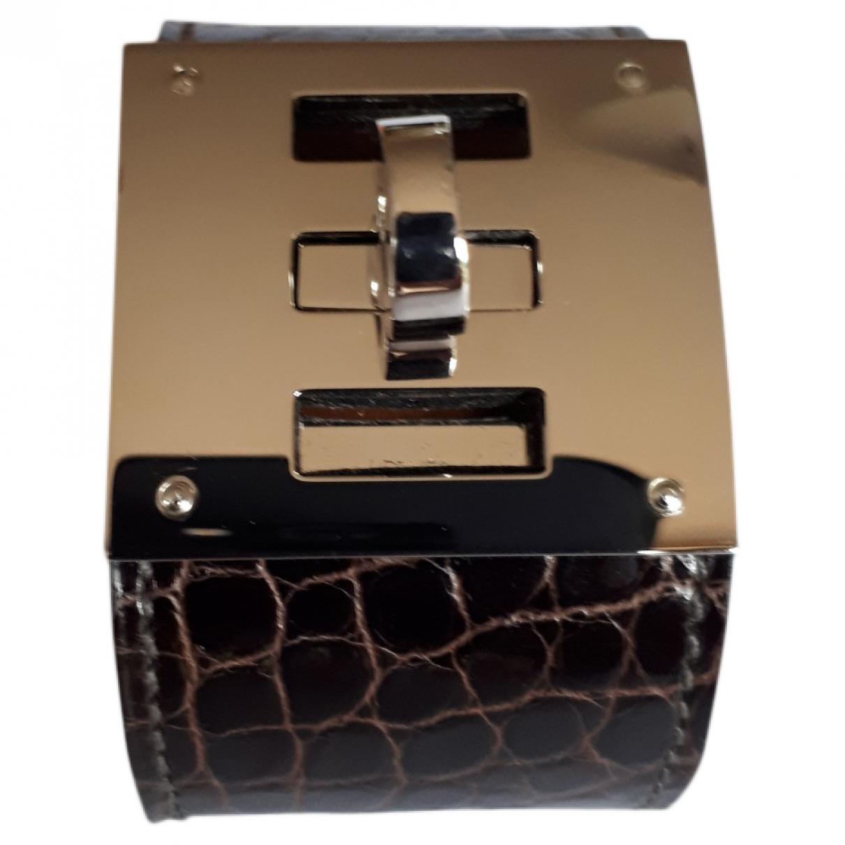 Hermès Kelly Brown Alligator bracelet for Women \N