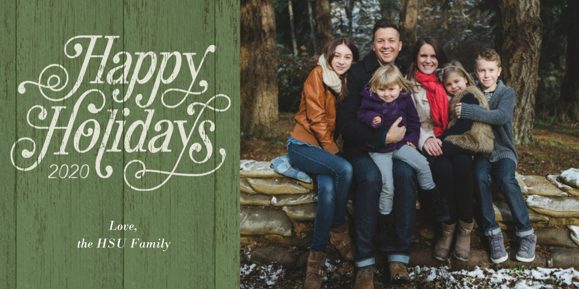 Christmas Photo Cards 4x8 Flat Card Set, 85lb, Card & Stationery -Vintage Green Happy Holidays 2020 Photo Card by Hallmark
