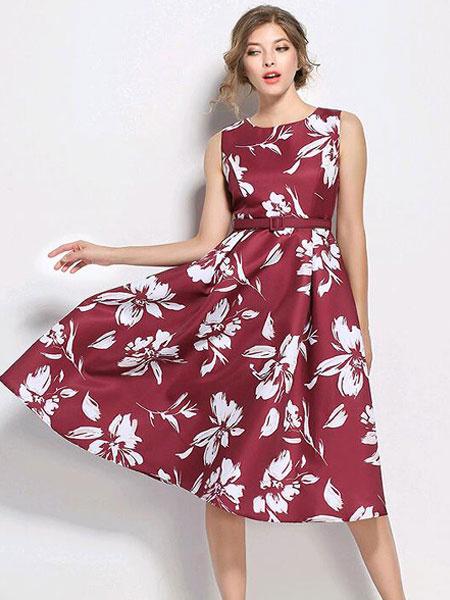 Milanoo Women Vintage Dress Floral Print Sleeveless Belted Summer Cotton Dress