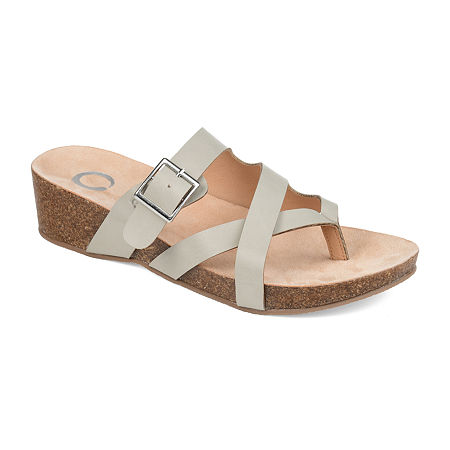 Journee Collection Womens Madrid Wedge Sandals, 7 1/2 Medium, Gray