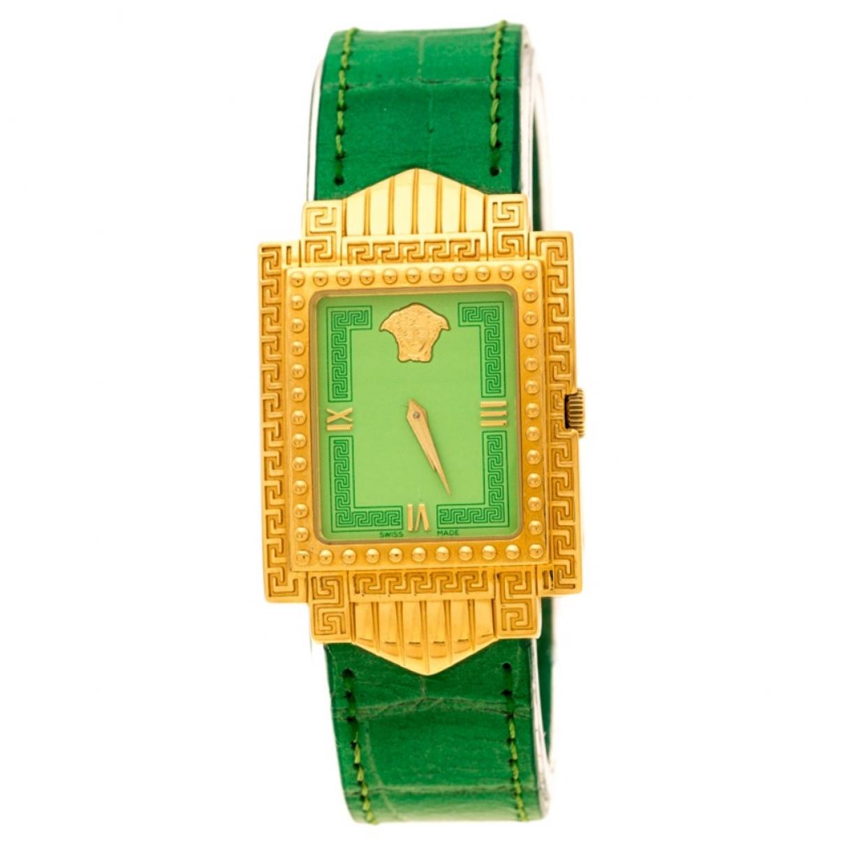 Versace - Montre   pour femme en plaque or - vert