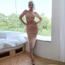Eilly Bazar conjunto top corto de malla con fruncido con falda lapiz