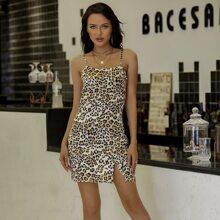 Eilly Bazar vestido de leopardo bajo con abertura