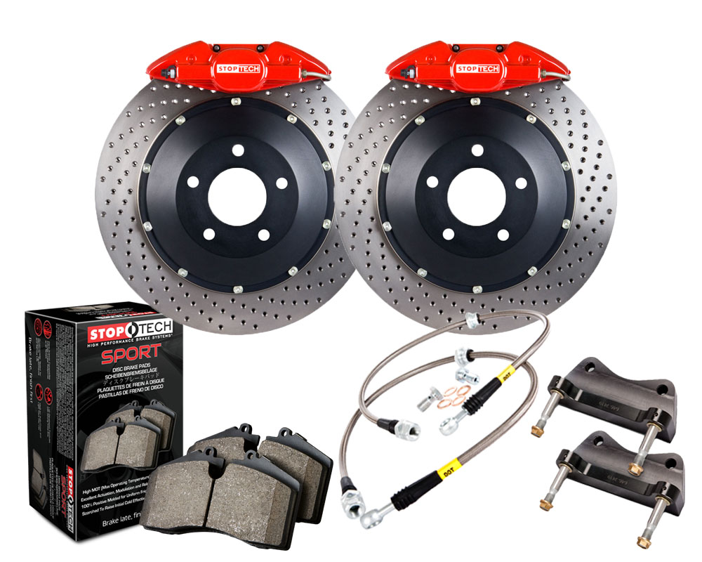 StopTech 83.827.002G.72 Big Brake Kit; Black Caliper; Slotted Two-Piece Rotor; Front Rear