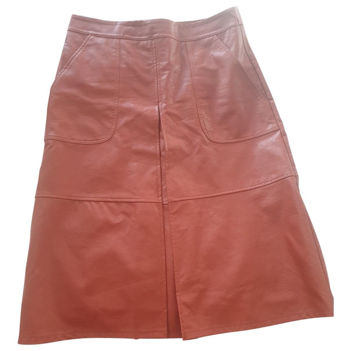 Non Signé / Unsigned \N Orange Leather skirt for Women 40 FR