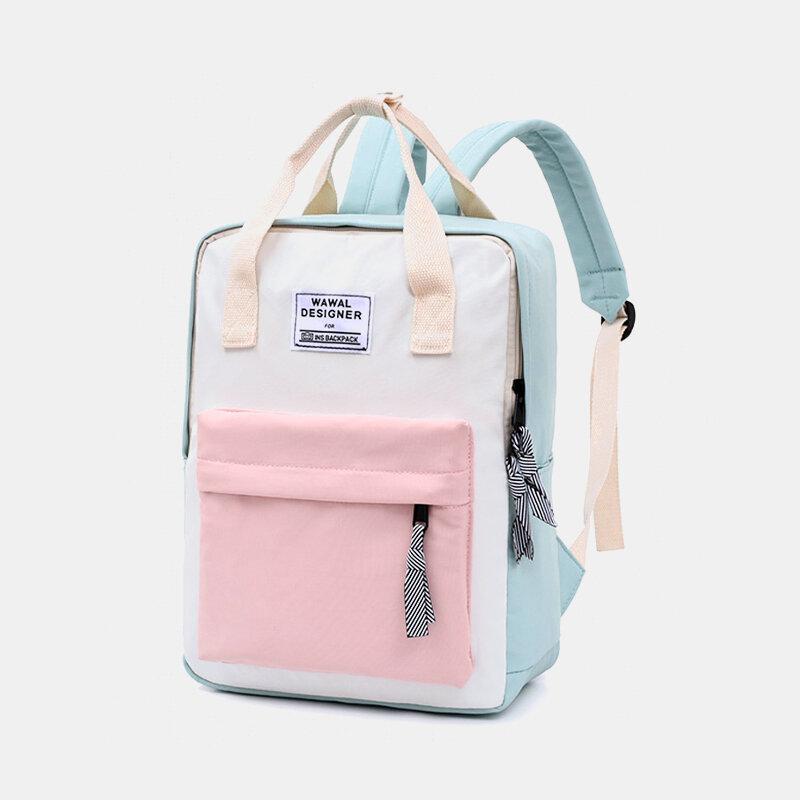 Women Tassel Patchwork Large Capacity 14 Inch Laptop Bag Backpack