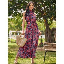 Kleid mit ueberallem Blumen Muster, Guertel und Neckholder