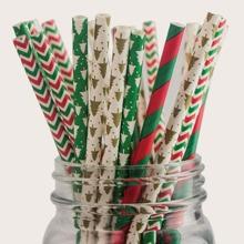 100 piezas pajita desechable con patron de navidad