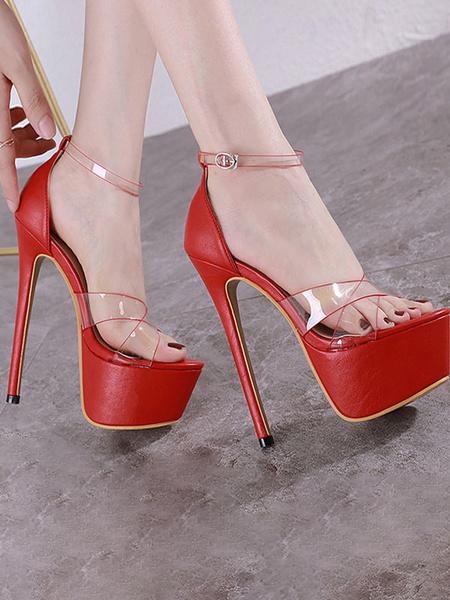 Milanoo Heel Sandals Sandals Red Stiletto Heel Open Toe PU Leather