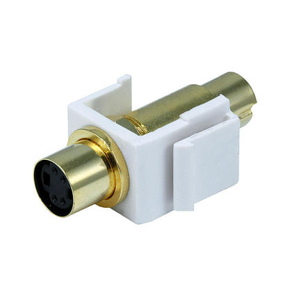 S-Video Mini 4Pin M/F Keystone Jack - White - Monoprice®