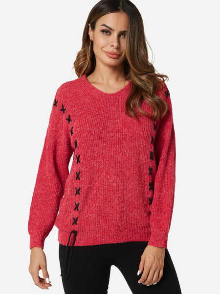 Yoins Red Lace-up Design V-neck Long Sleeves Sweater