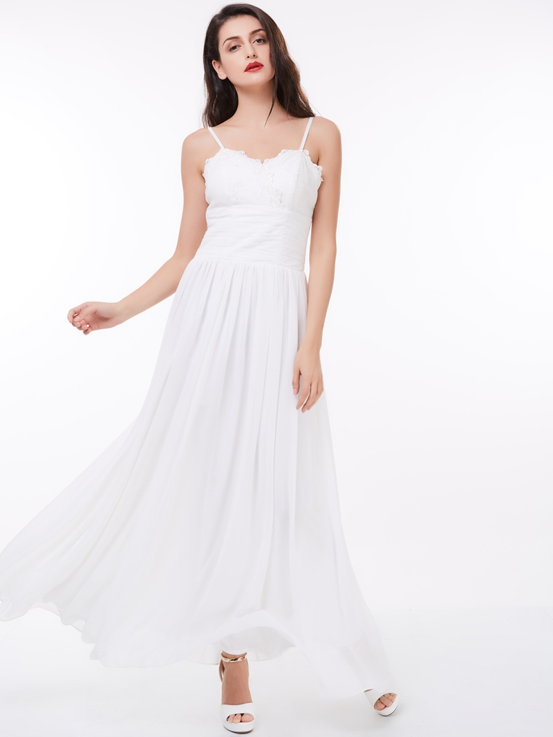 Ericdress A-Line Spaghetti Straps Draped Lace Ankle-Length Prom Dress