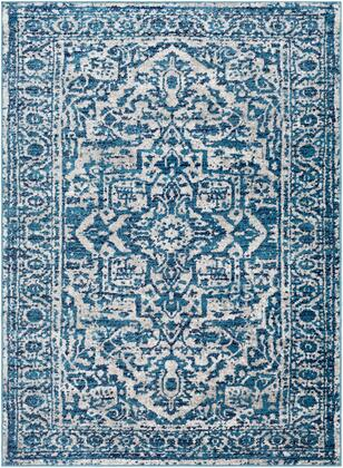 Monte Carlo MNC-2302 53 x 73 Rectangle Traditional Rug in Sky Blue  Light Gray  White