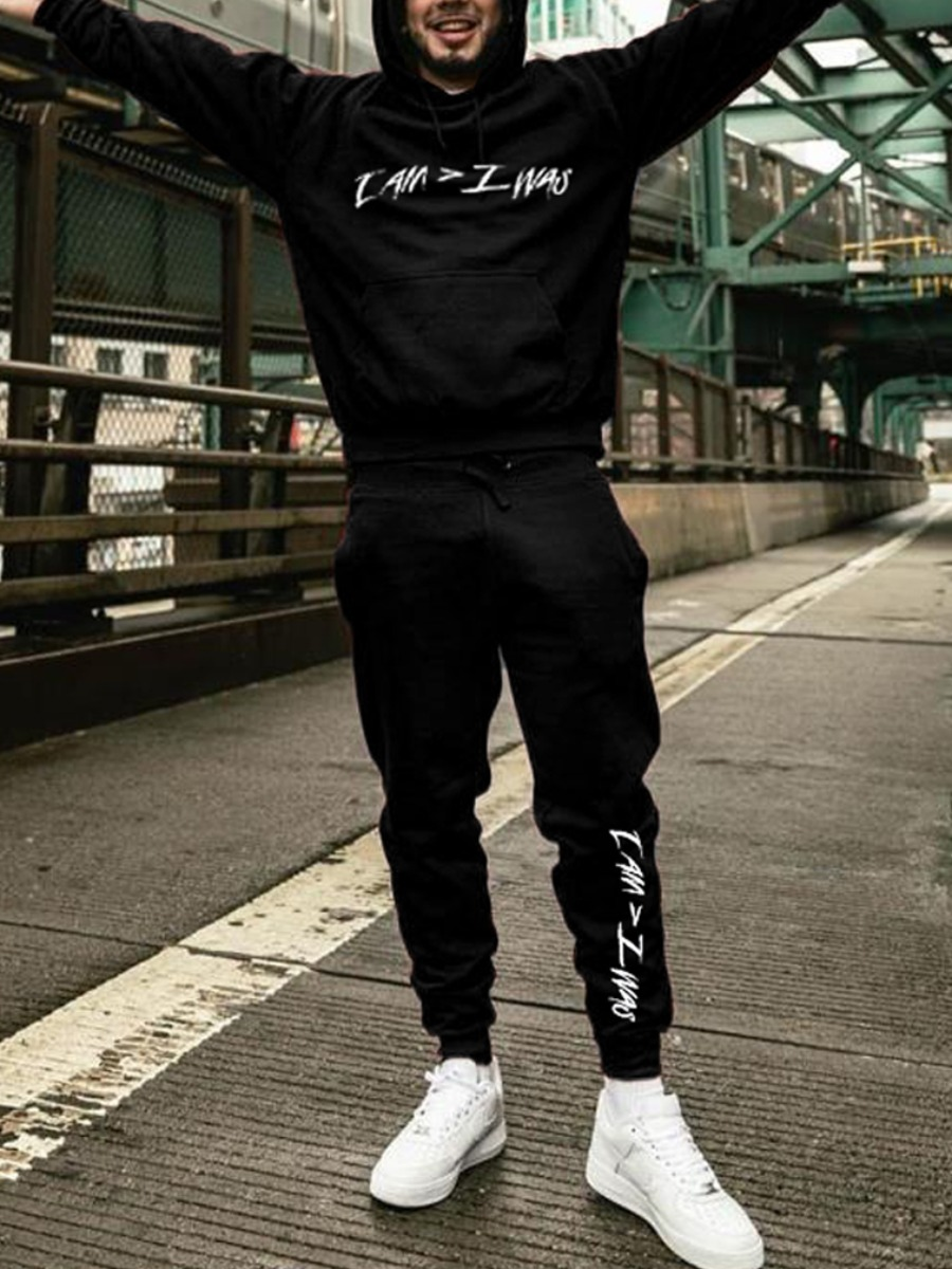 LW lovely Casual Hooded Collar Letter Print Black Men Two-piece Pants Set
