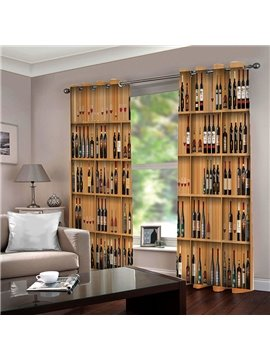 Creative 3D Wine Cabinet Print Blackout Polyester Curtains No Pilling No Fading and No off-lining 80% Shading Rate and UV Rays
