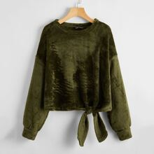 Drop Shoulder Knot Front Shearling Sweatshirt