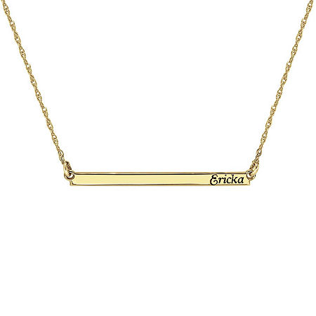 Personalized 14K Gold Over Sterling Silver Name Bar Necklace, One Size , No Color Family