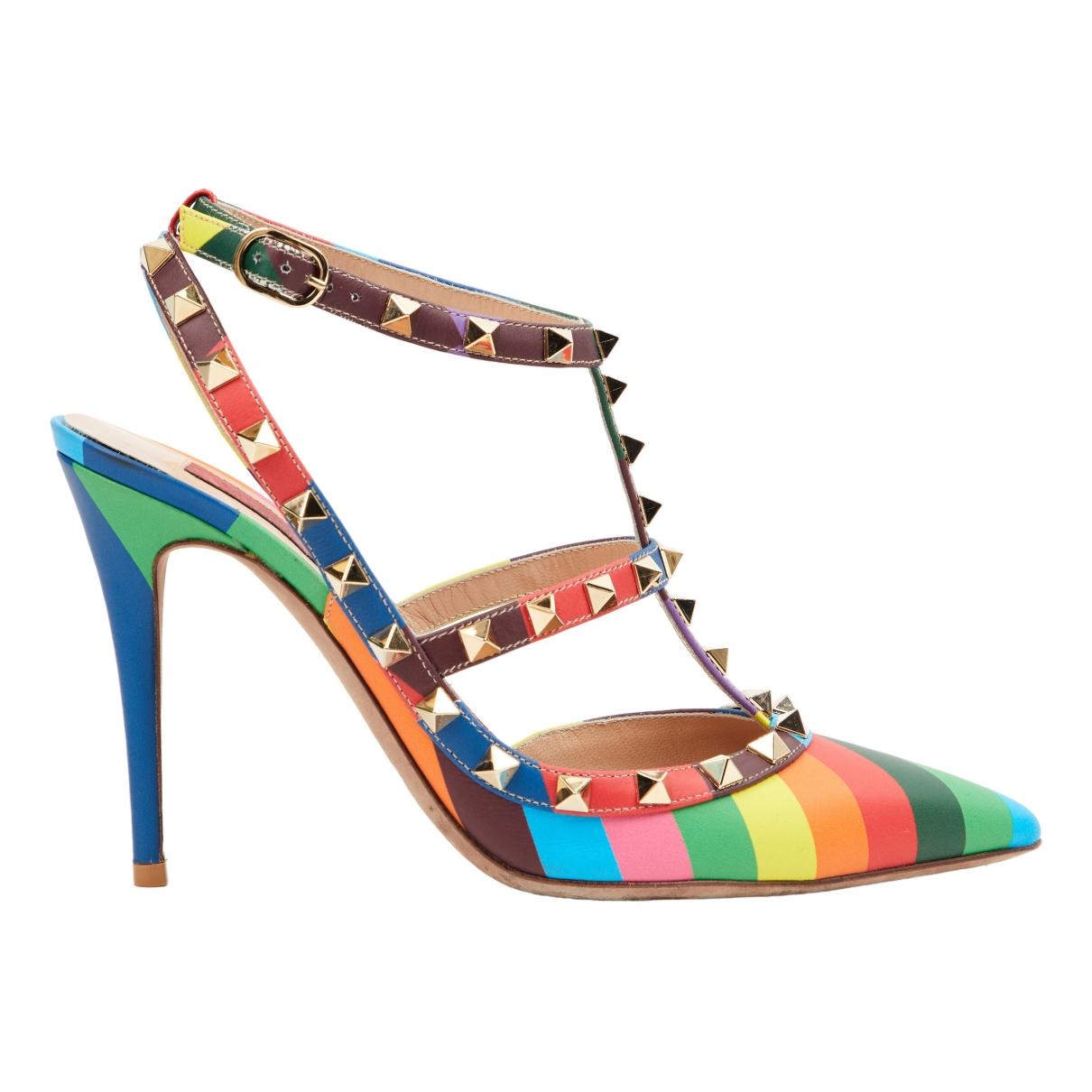 Valentino Garavani Rockstud Multicolour Leather Heels for Women 38.5 IT